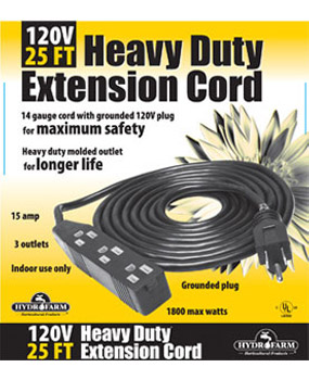 25' Heavy Duty Extension Cord, 120v, 3 outlet