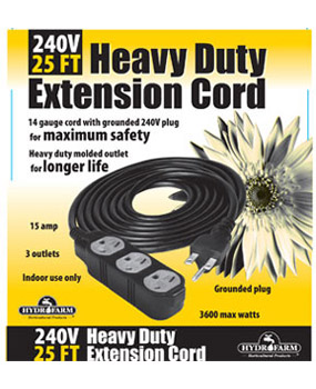25' Heavy Duty Extension Cord, 240v, 3 outlet