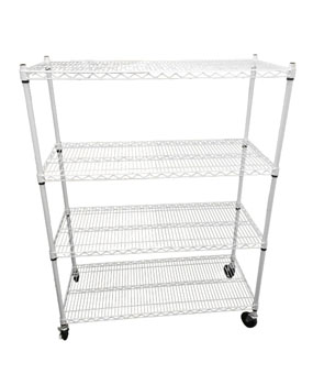 "Wire Rack 48"" x 20 ""x 60"" 4 Tier w/ Casters - White"